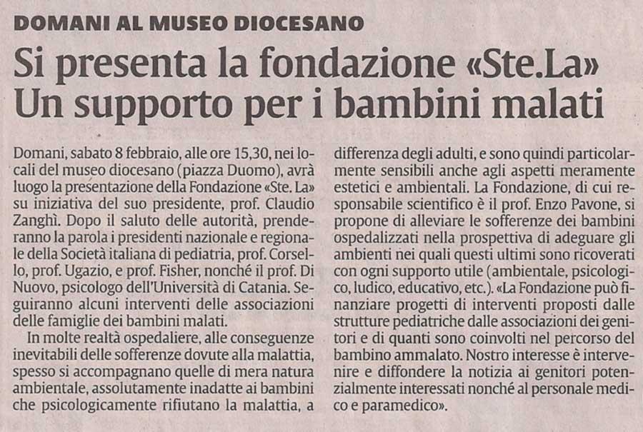 """Articolo su """"La Sicilia"""""""